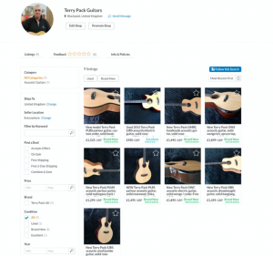 NEW Dedicated Reverb shop for Terry Pack Guitars